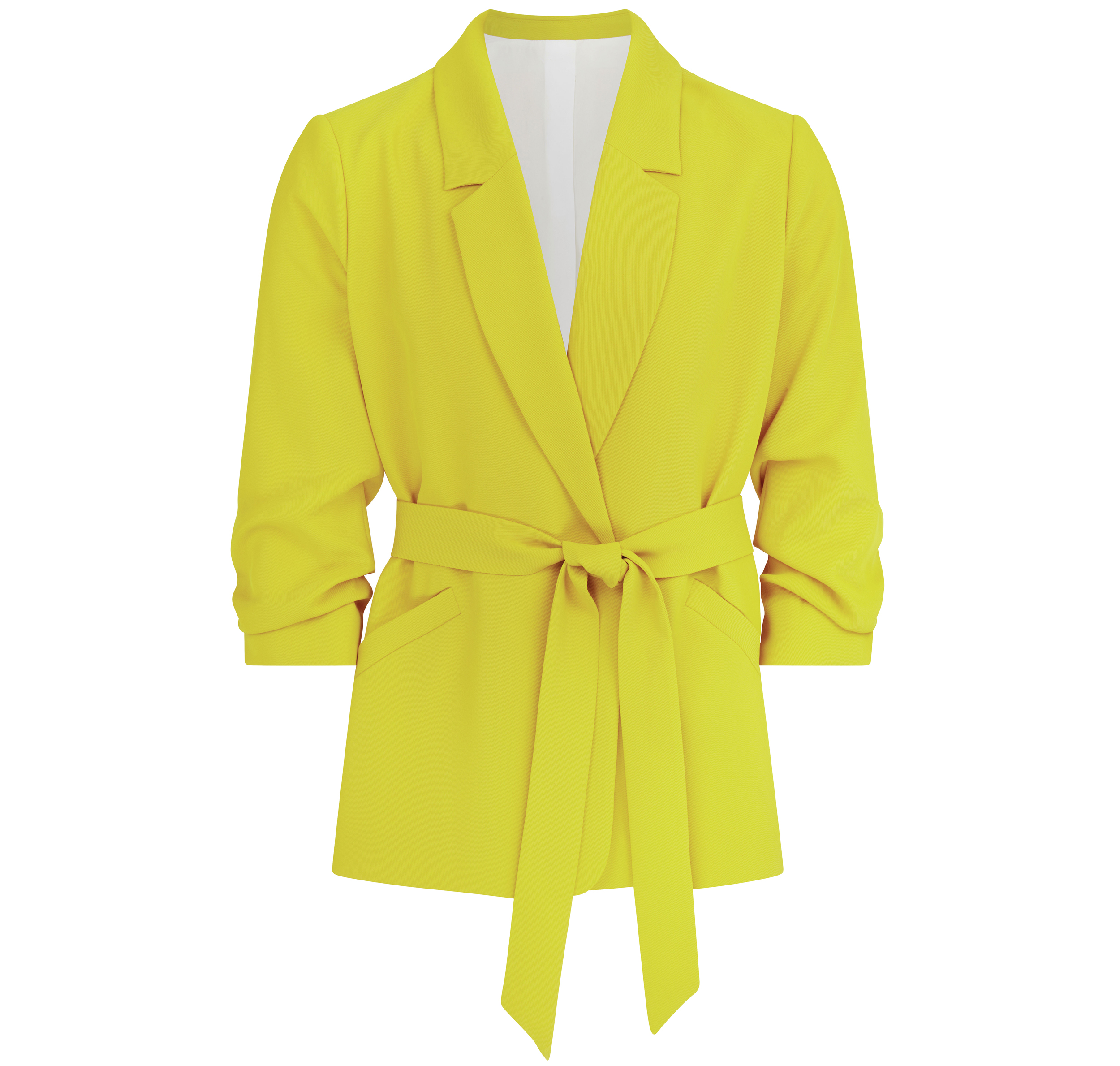 River Island Plus Yellow Ruched Sleeve Belted Blazer