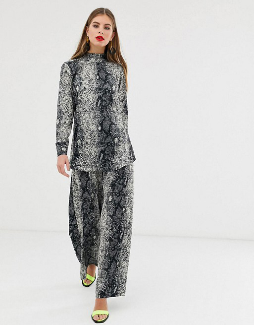 Verona high neck long sleeved top (£35) and wide leg trouser (£35) in python print