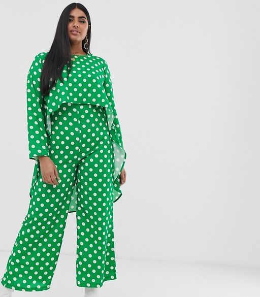 Verona Curve long sleeved layered jumpsuit in green polka dot, £50 on ASOS