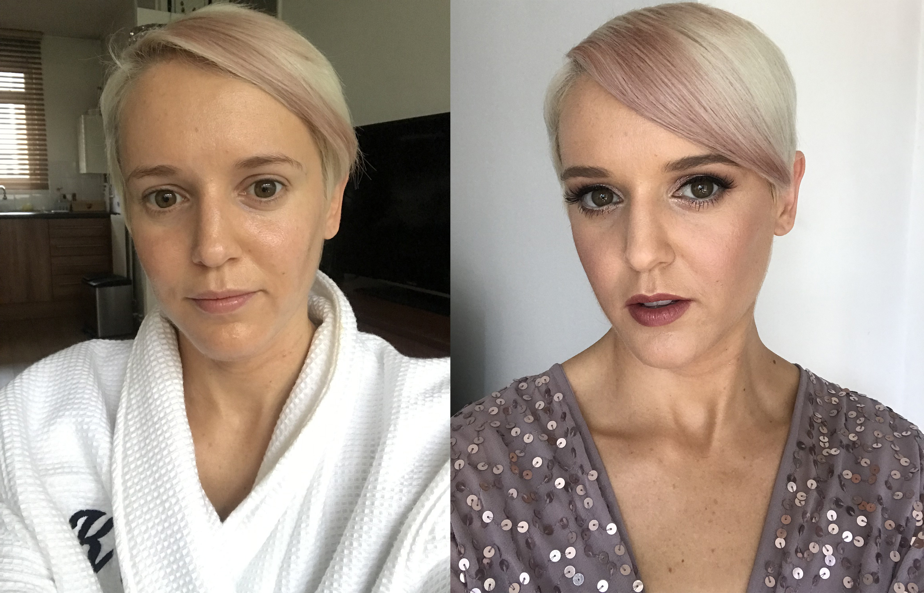 Katie Wright before and after a make-up appointment with Beyou app