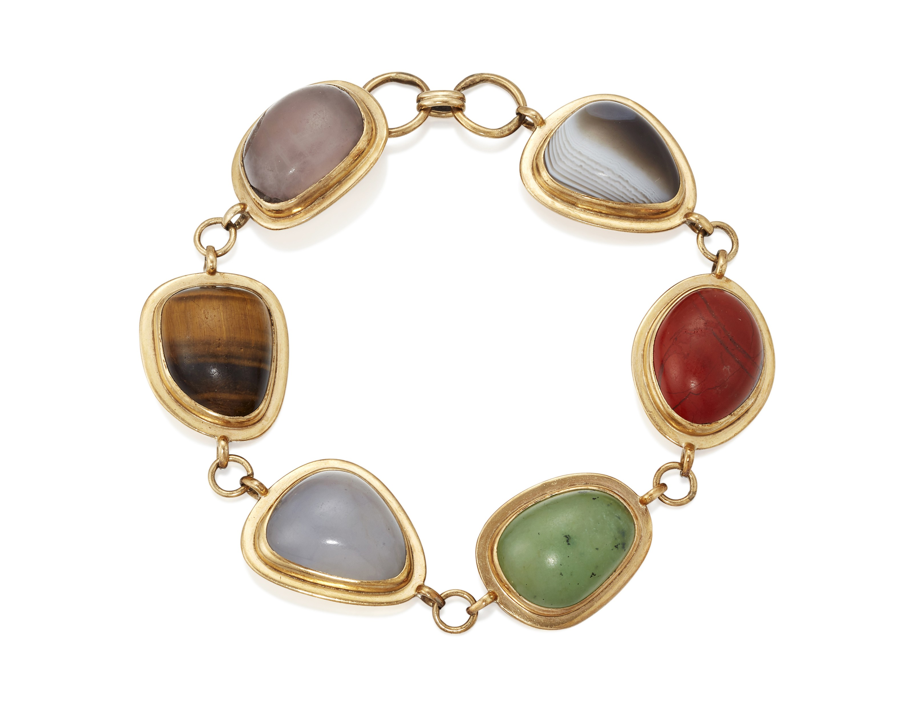 A hardstone-mounted gold bracelet of vari-shaped cabochons