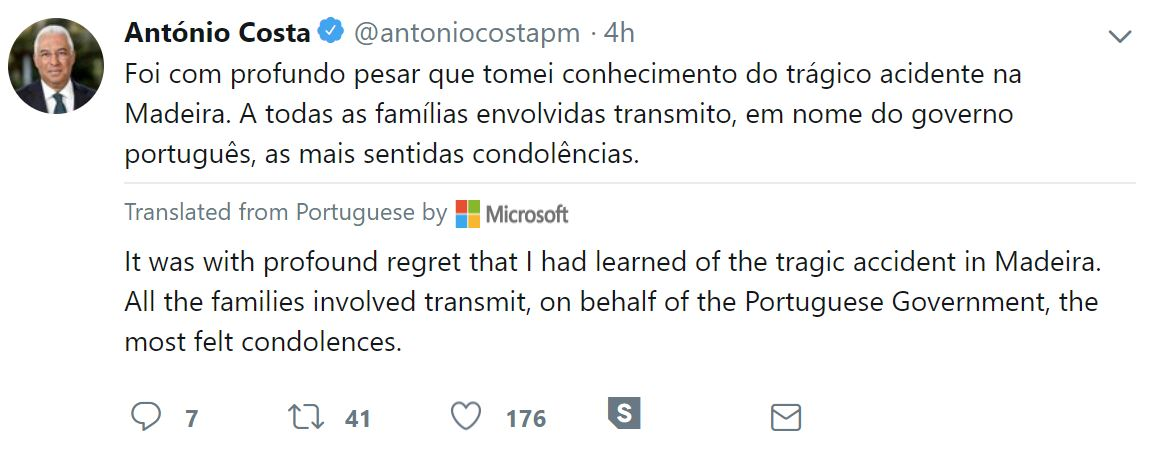 Portuguese prime minister Antonio Costa sends his condolences to German chancellor Angela Merkel