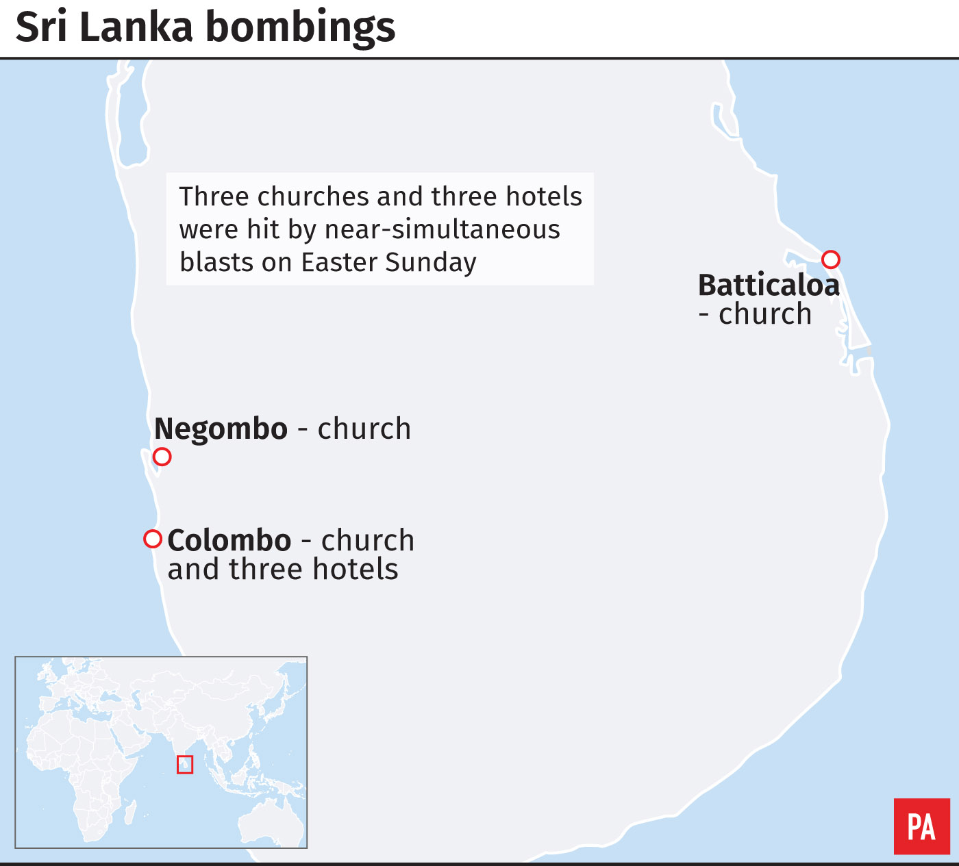 Location of Sri Lanka bombings
