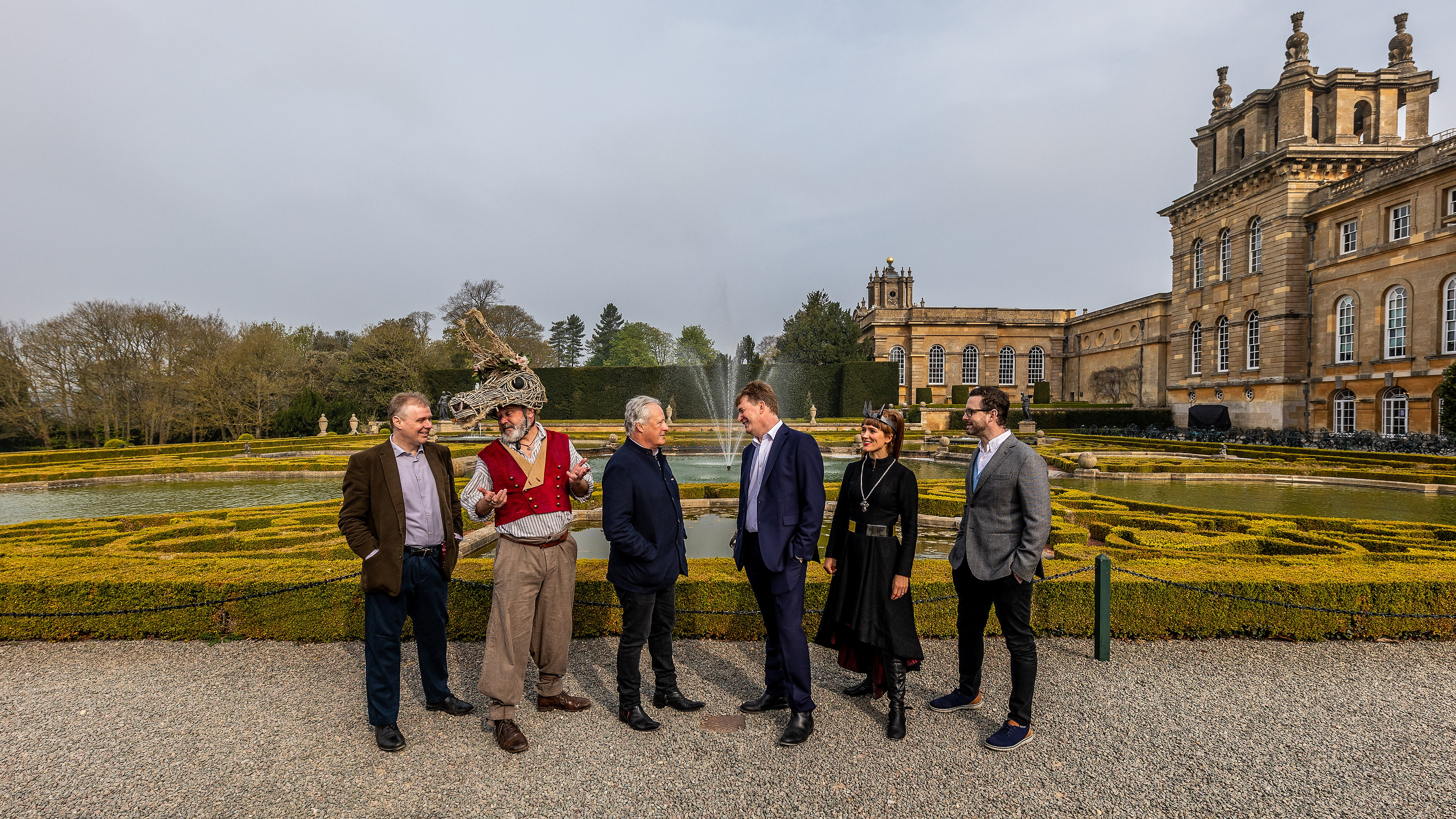 – Dominic Hare, Paul Hawkyard, James Cundall, Anthony Findlay, Leandra Ashton and Joni Marks at Blenheim Palace