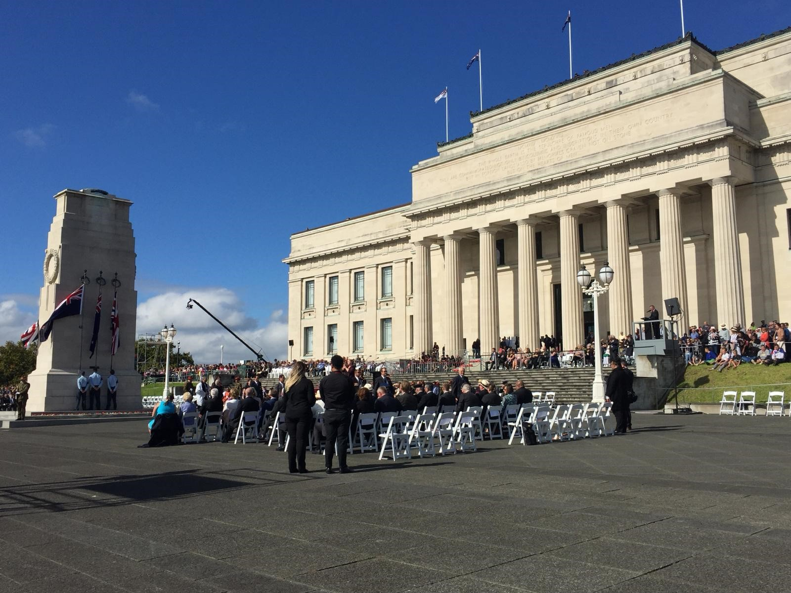 Crowds at the Auckland war memorial (Ellie Cullen/PA)