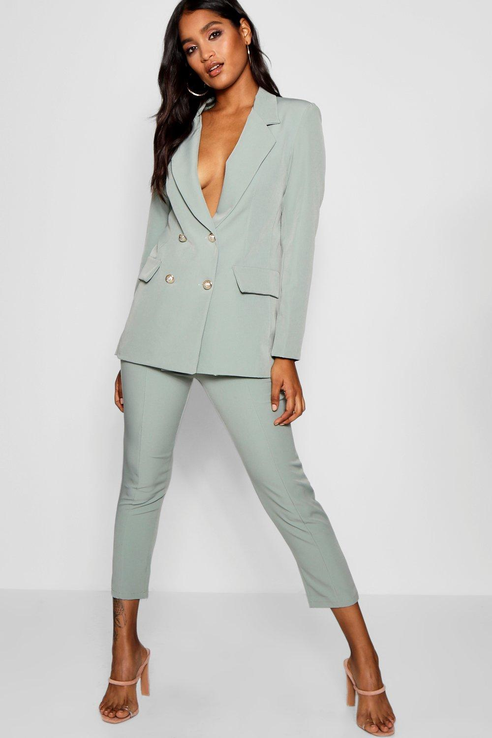 Boohoo Double Breasted Boxy Military Blazer; Military Button Detail Tapered Trousers