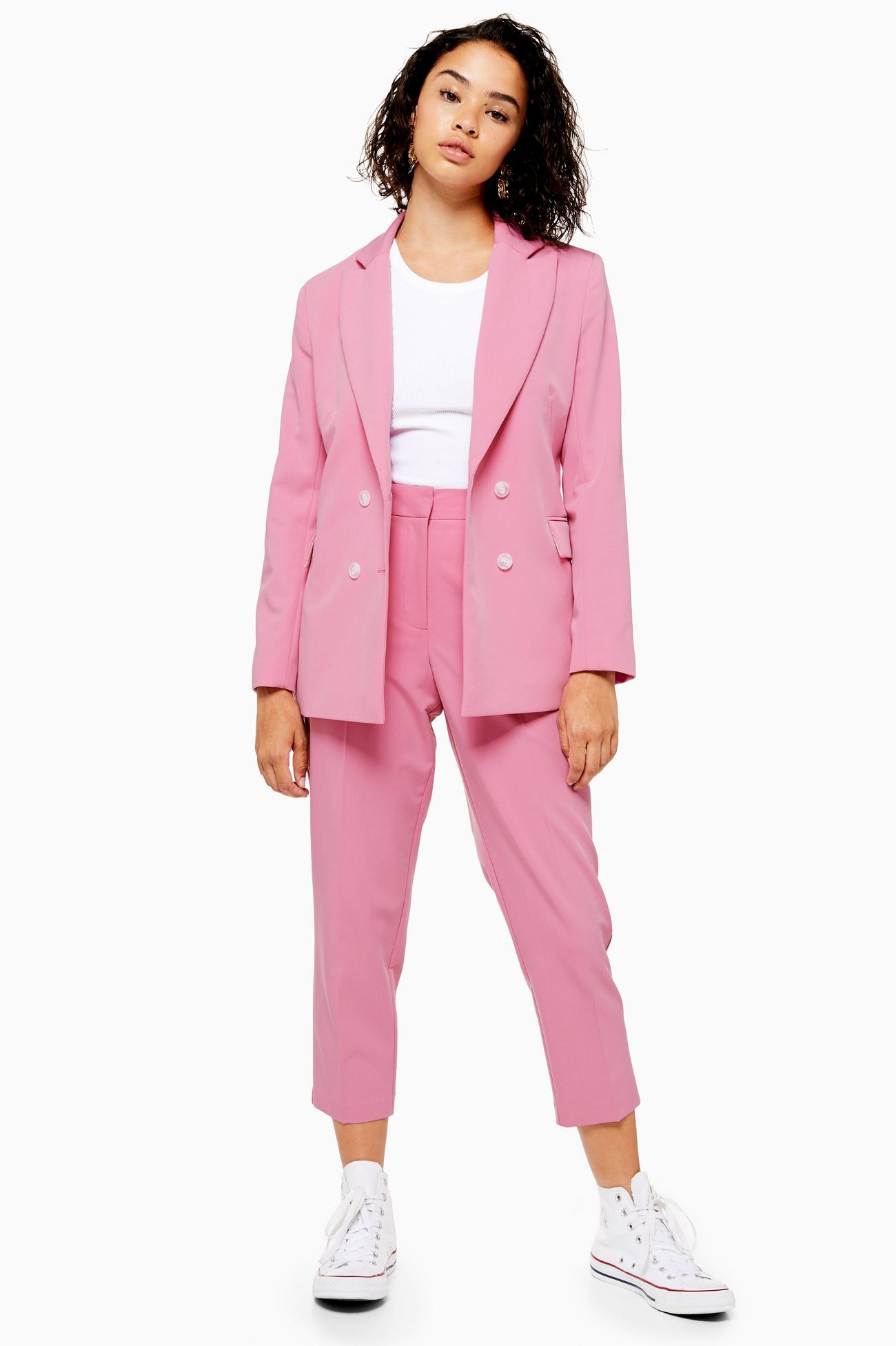 Topshop Petite Pink Double Breasted Suit Jacket; Petite Pink Suit Trousers