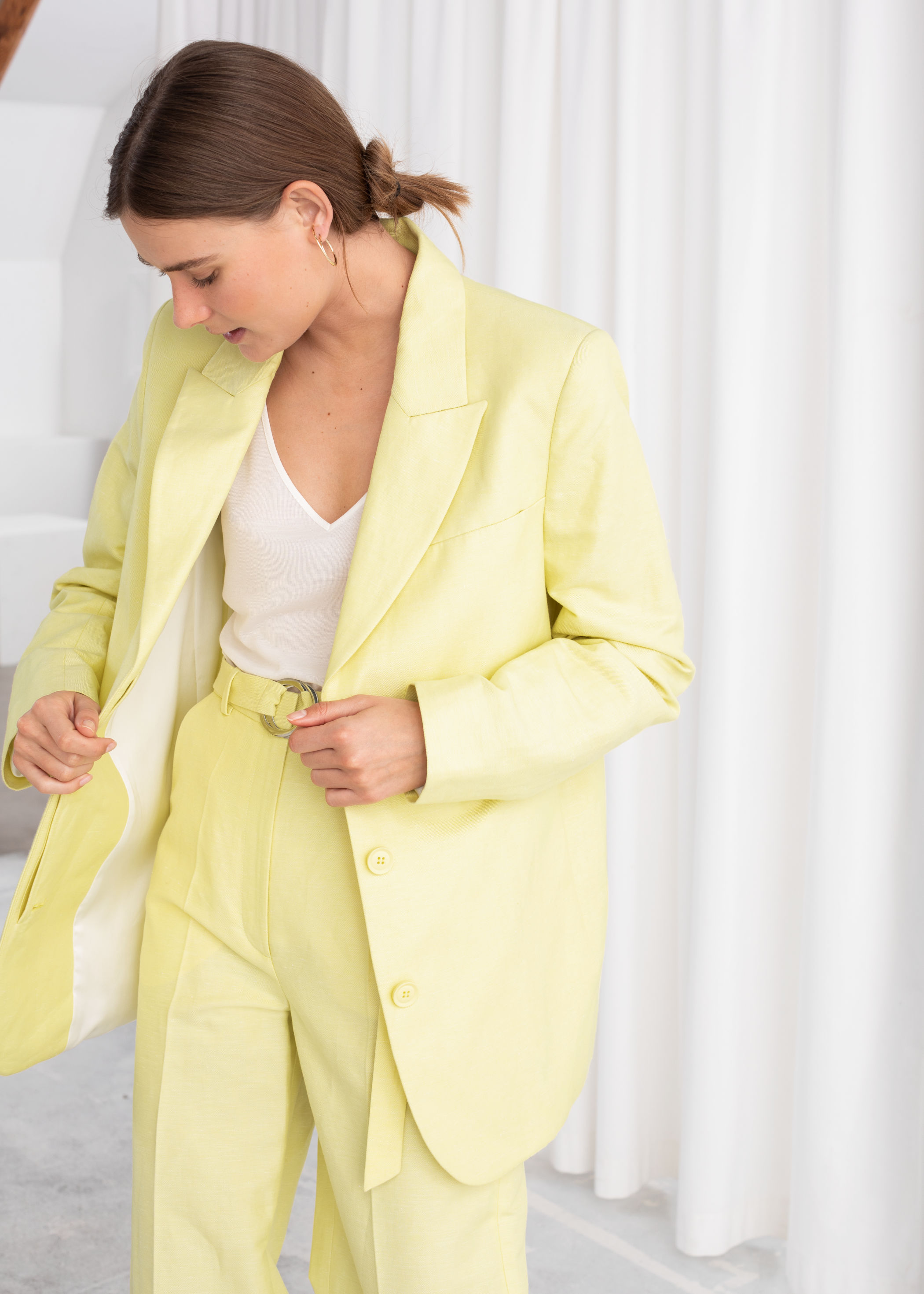 And Other Stories Oversized Linen Blend Blazer; Belted Cotton Linen Blend Trousers