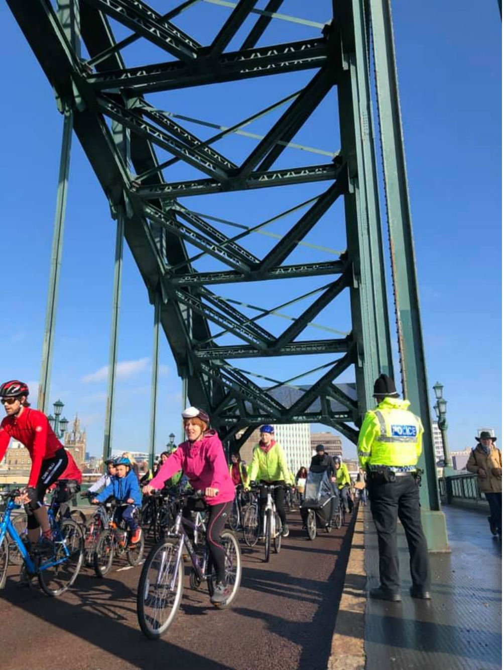 Cyclists who have staged a go slow through Tyneside