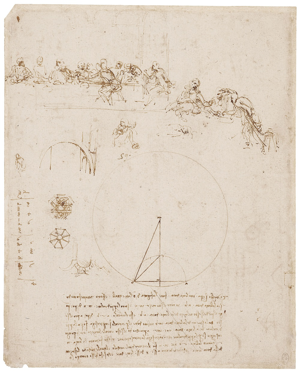 Leonardo da Vinci, Sketches for the Last Supper, and other studies