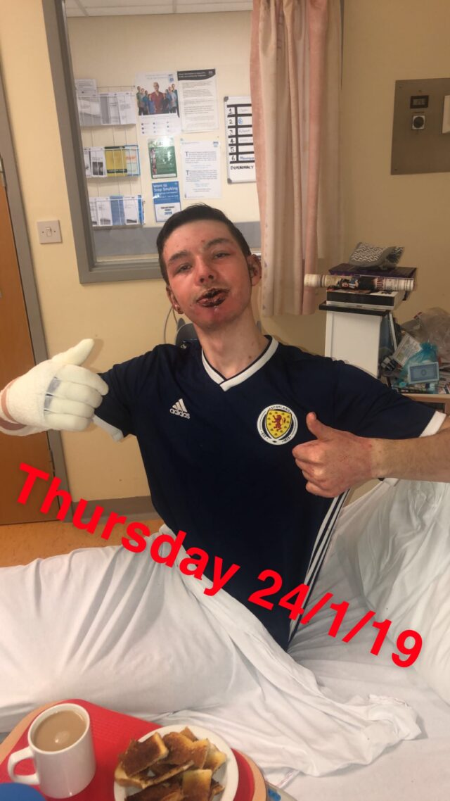 Dean Beggs in hospital after the incident