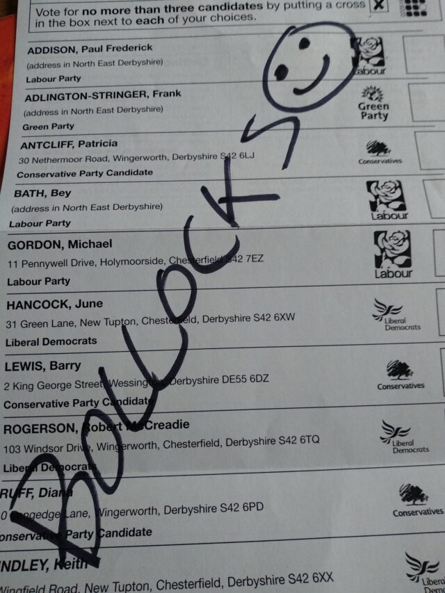 "A local authority worker wrote ""bollocks"" on his ballot paper."