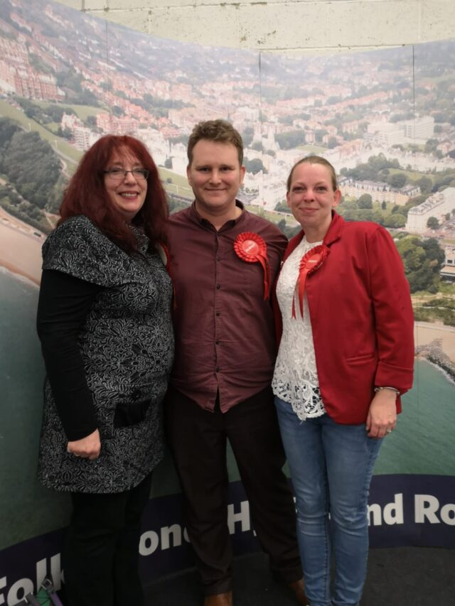 Michelle Dorrell in Folkestone with members of her party