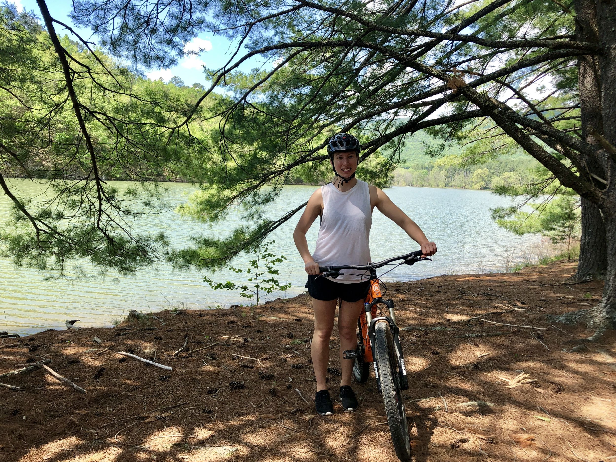 Emilia Harris mountain biking in Carvins Cove, in Virginia's Blue Ridge (Emilia Harris/PA)