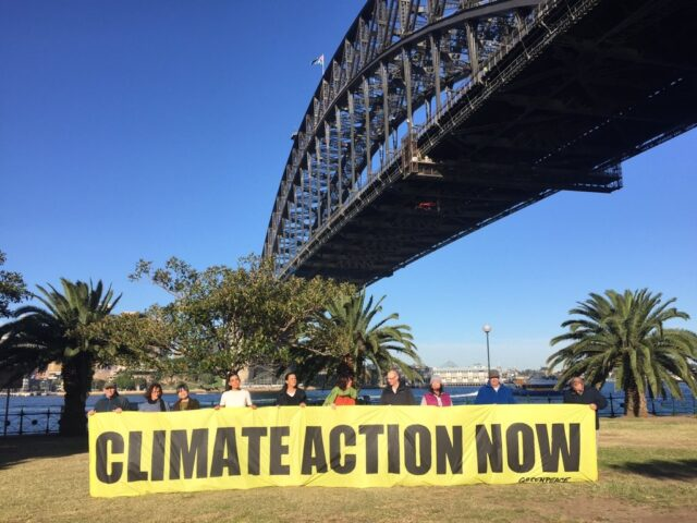 The climate protesters on the side of bay