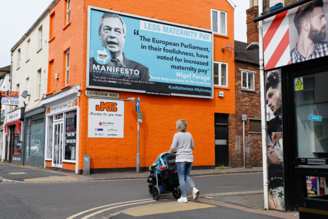 A billboard in Taunton takes aim at Nigel Farage and the Brexit Party. (Luke MacGregor/ Led By Donkeys/ PA)