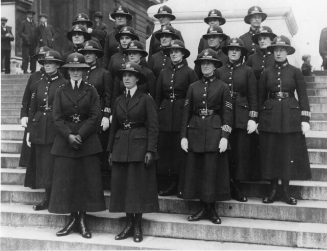 Women police officers on Clive Steps in Westminster, 1919