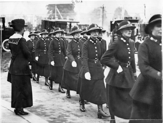 Female officers on their first parade in London in 1919