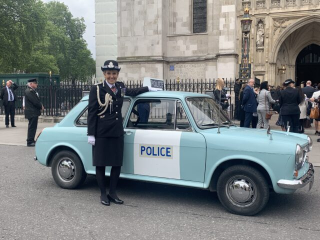 Vintage police cars were taken to the Westminster Abbey service