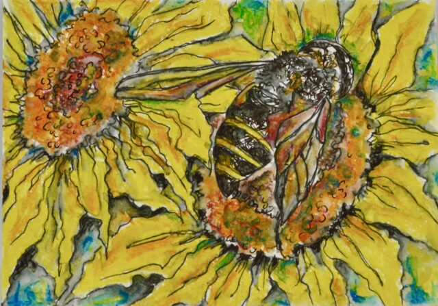 Painting of a bee on a sunflower