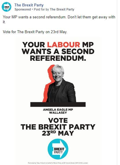An example of a Brexit Party Facebook advert targeted at constituents of Labour MP Angela Eagle. (Facebook)