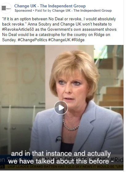 An example of a Change UK advert featuring Anna Soubry.