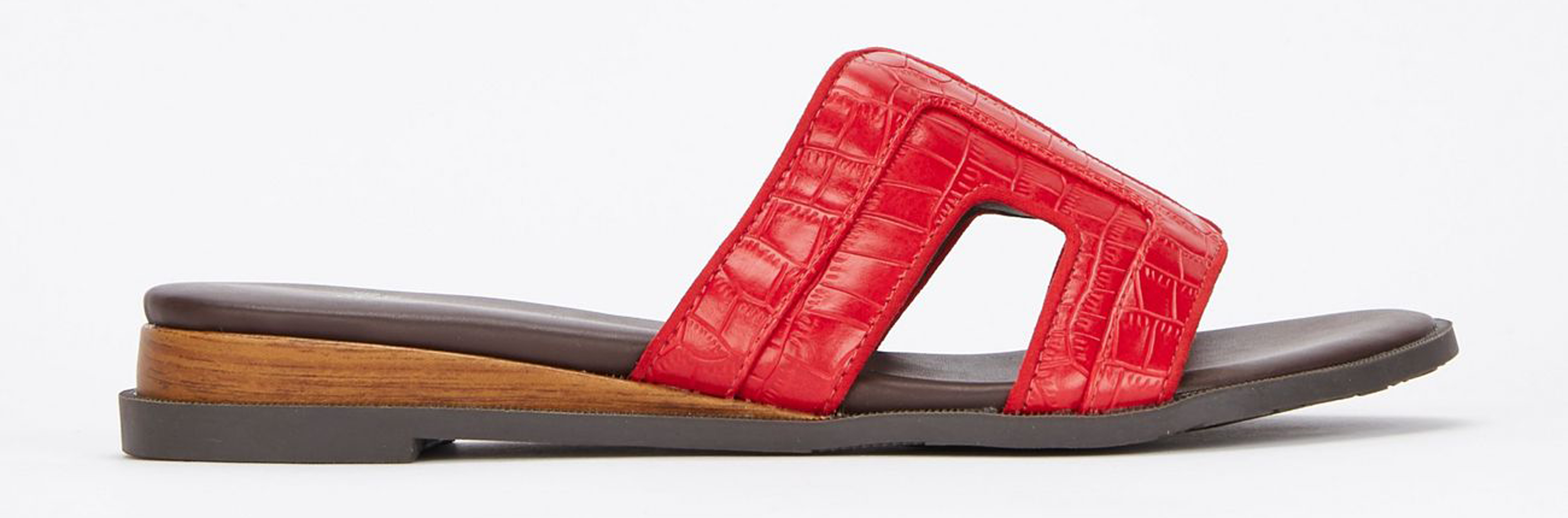 Evans Extra Wide Fit Red Mini Wedge Mules