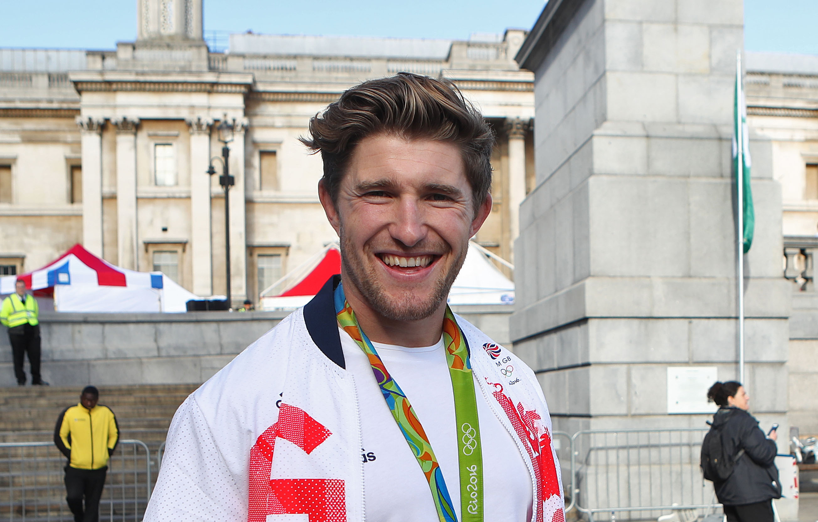 Great Britain's Phil Burgess before the Olympic and Paralympic athletes heroes' return in London.