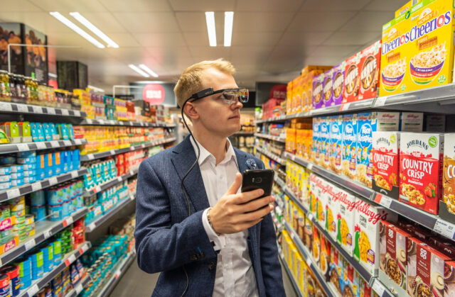 Dr Carl-Philip Ahlbom wearing the eye-tracking glasses in a supermarket (University of Bath/PA)