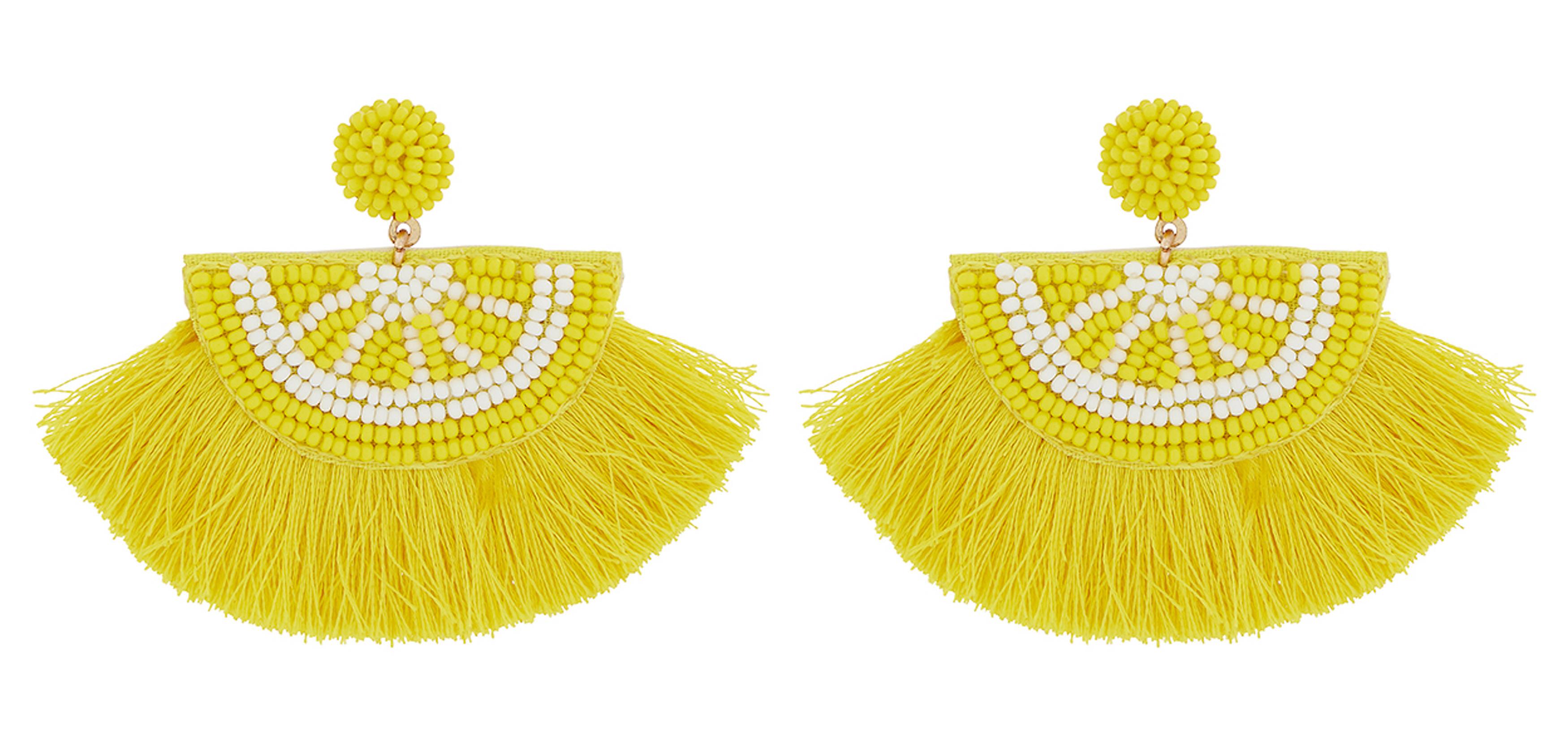 Accessorize Lemon Fringe Statement Earrings