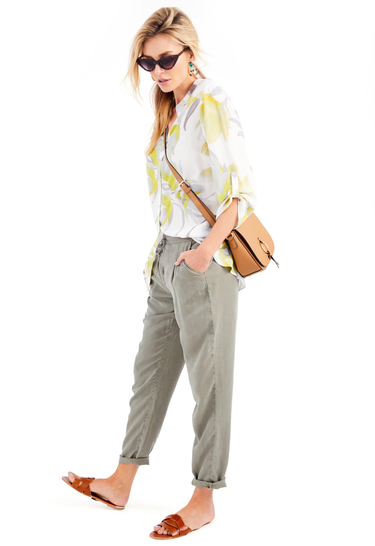 Damart Printed Longline Blouse; Khaki Tencel Trousers,; Camel Bag