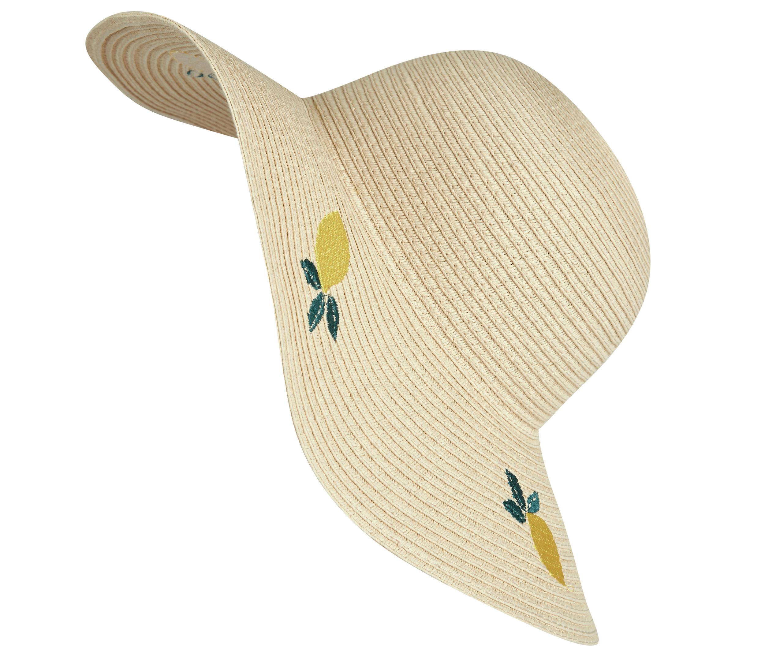 Laura Ashley Natural Lemon Embroidered Straw Floppy Hat