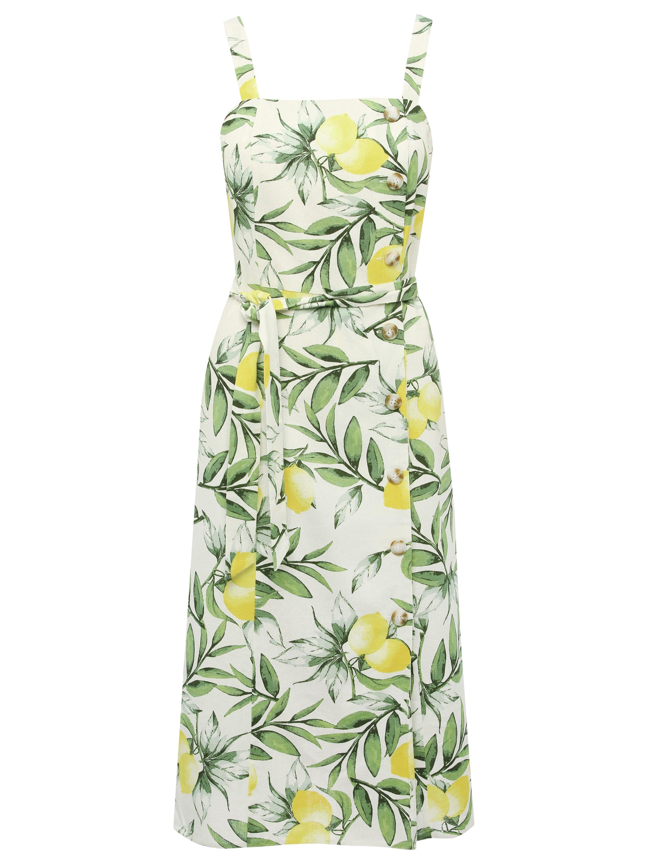 M&Co Lemon Print Linen Midi Dress