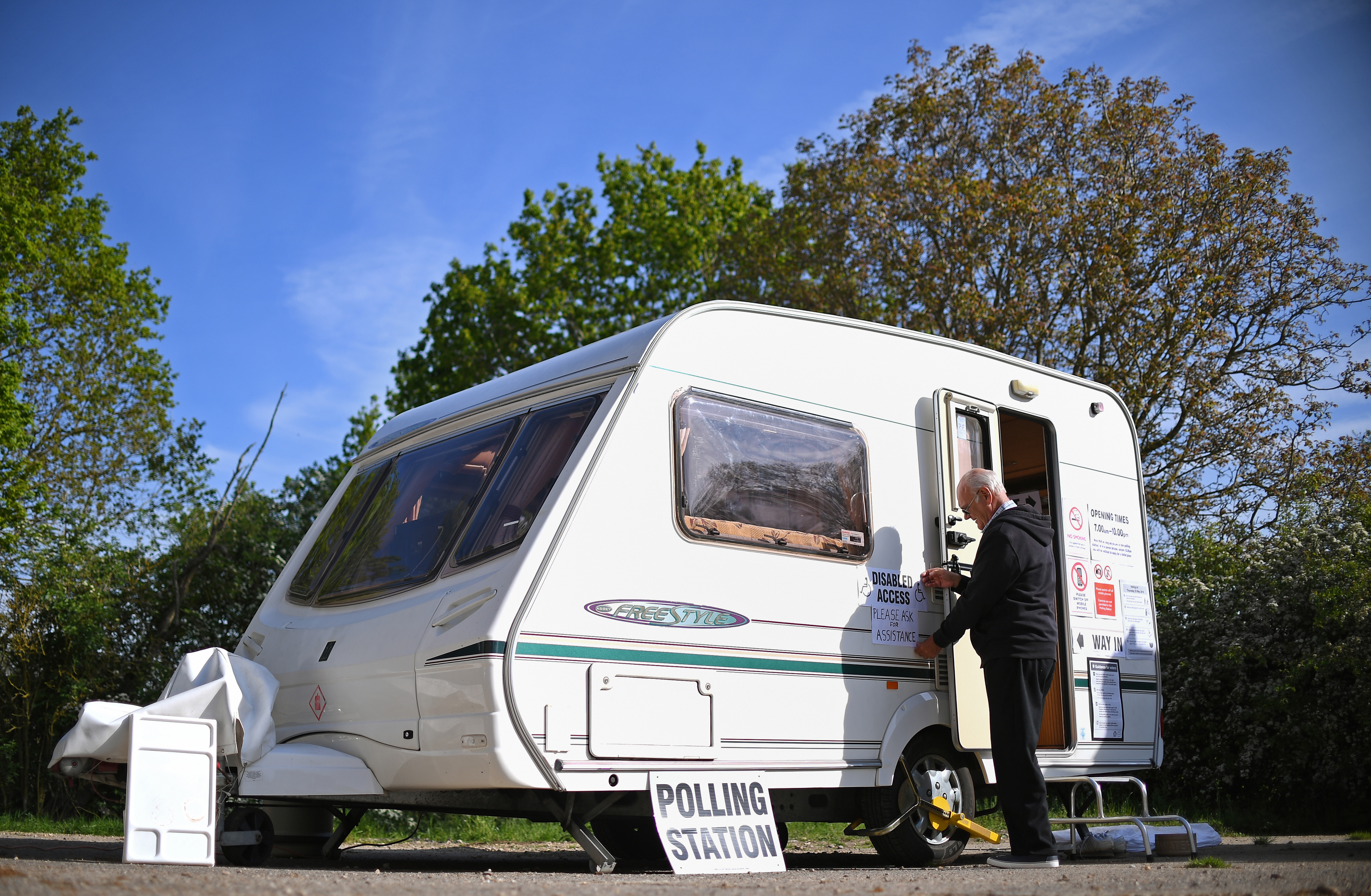 Caravan being used as a polling station for the European elections