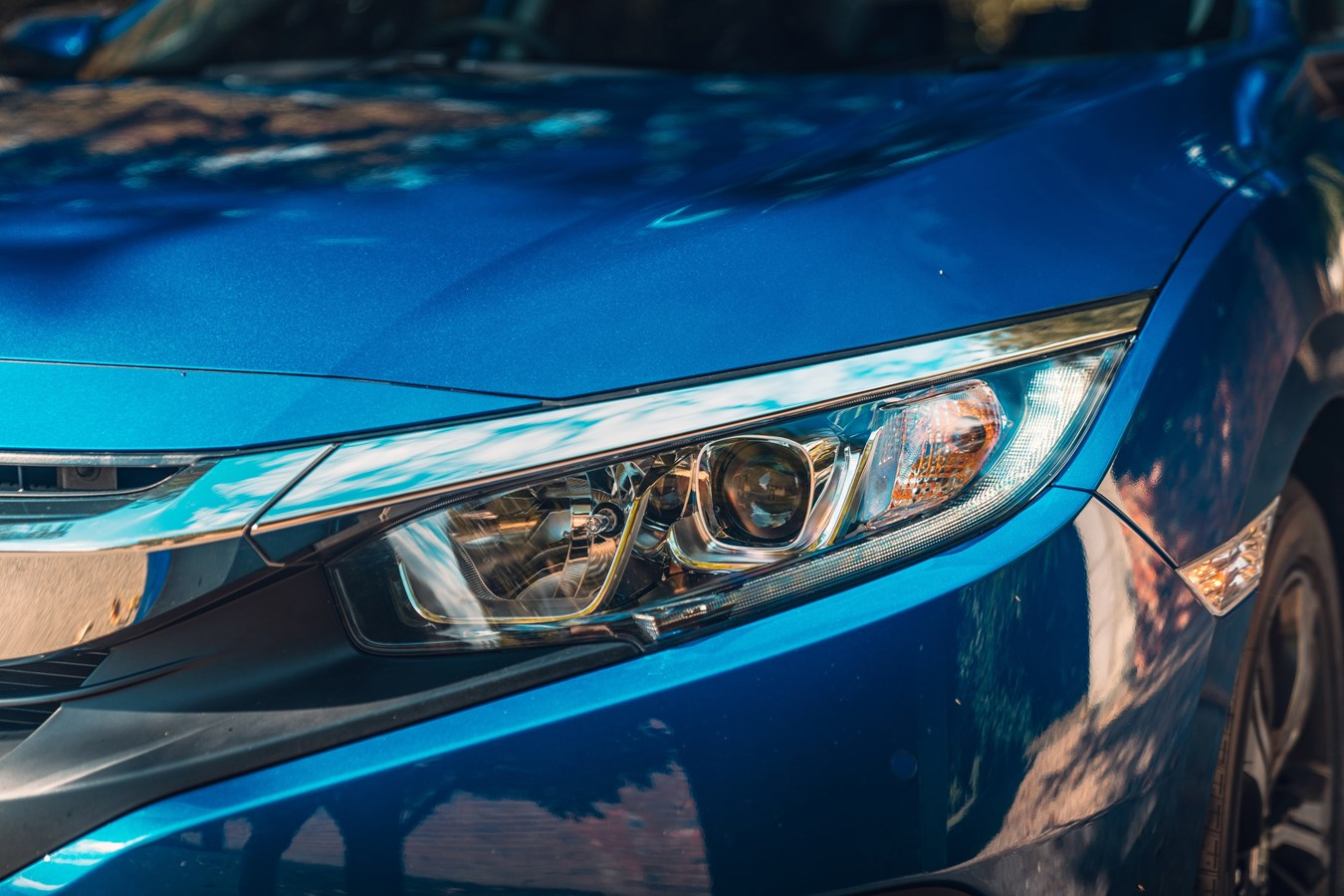 Sleek headlights give the front of the car plenty of edge