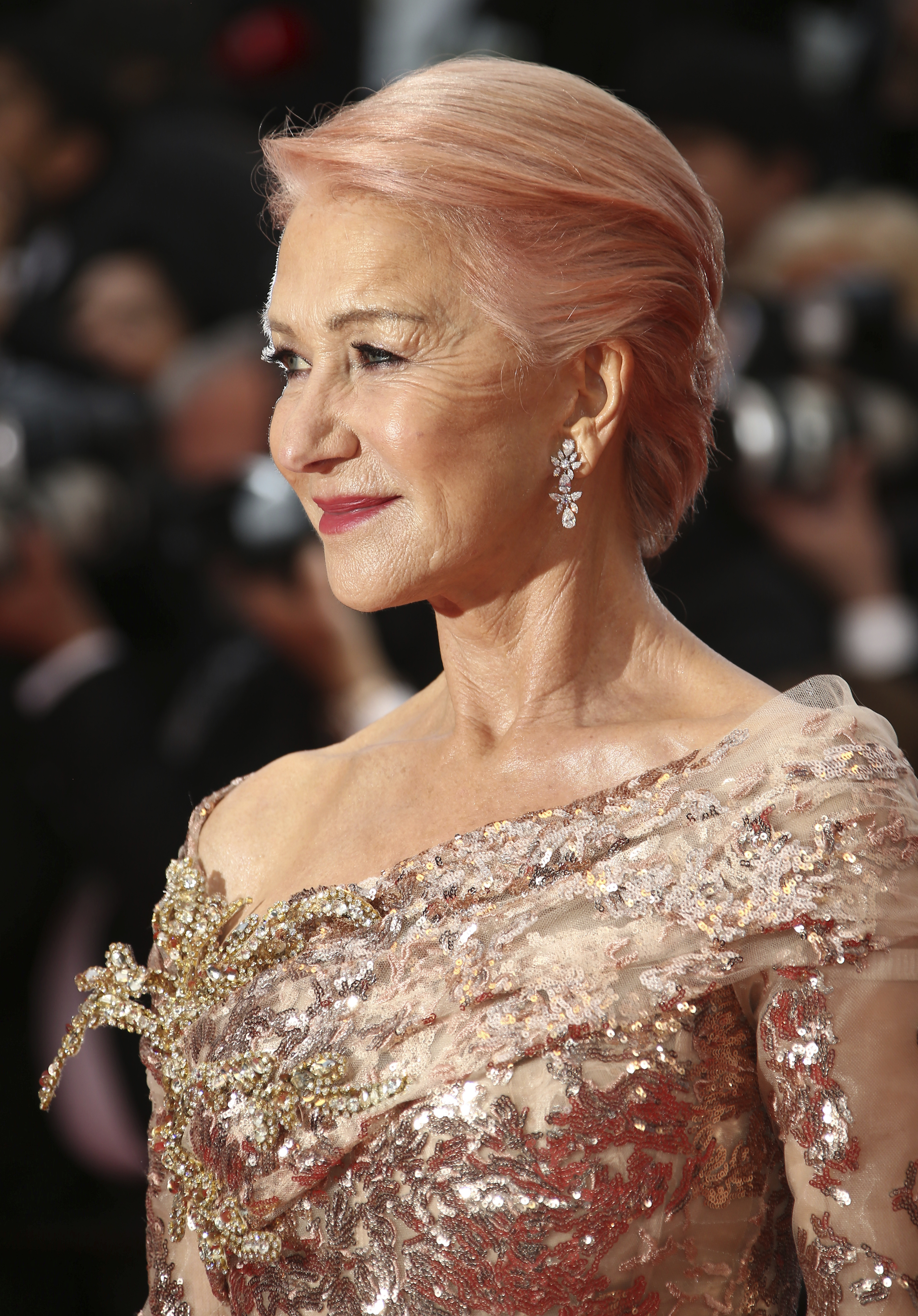 Actress Helen Mirren poses for photographers upon arrival at the premiere of the film 'The Best Years of a Life' at the 72nd international film festival, Cannes