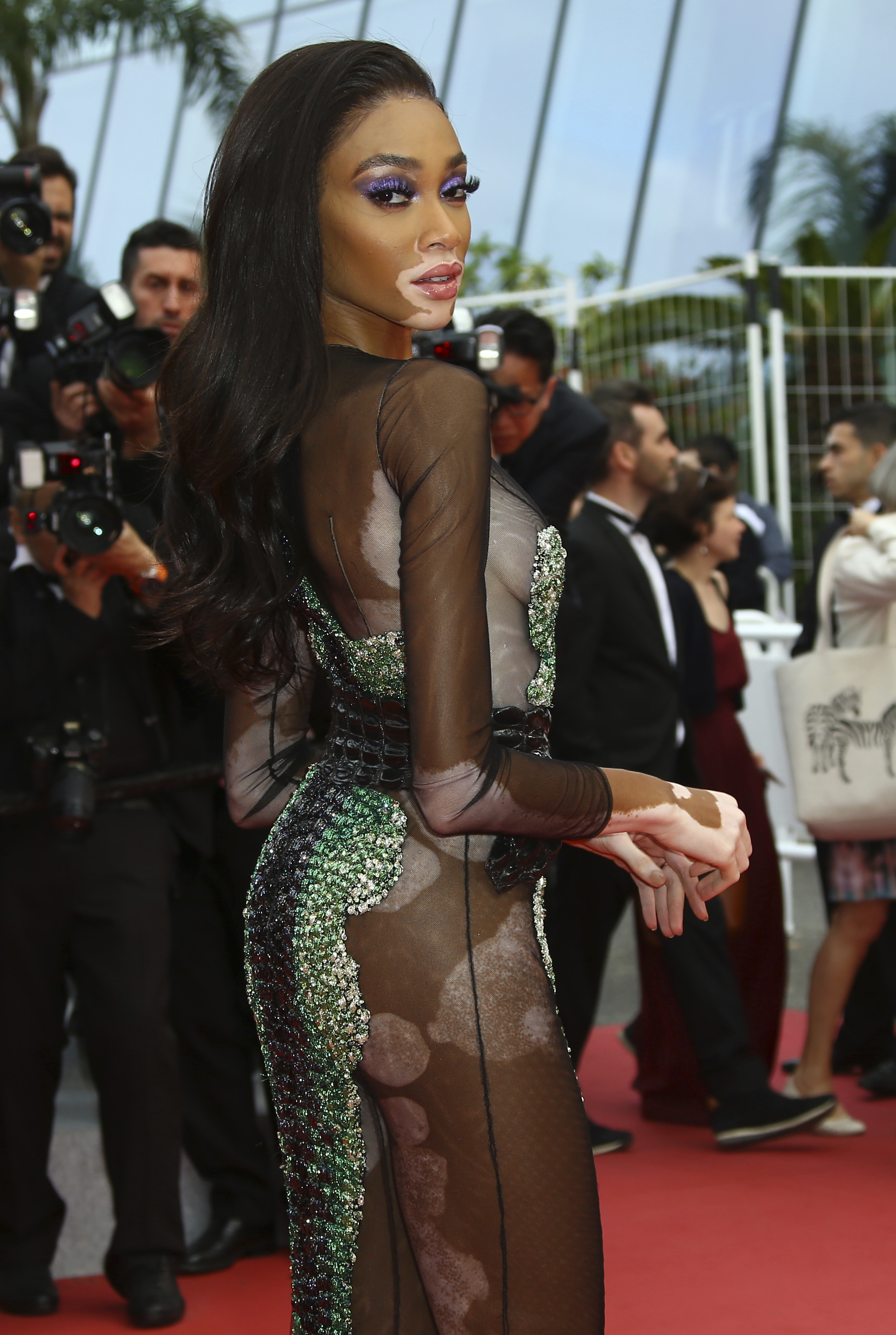 Model Winnie Harlow poses for photographers upon arrival at the premiere of the film 'Oh Mercy' at the 72nd international film festival, Cannes, southern France, Wednesday, May 22, 2019