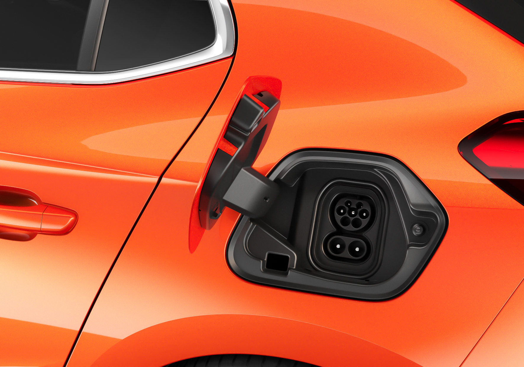 The charging port is located where you'd expect the fuel filler