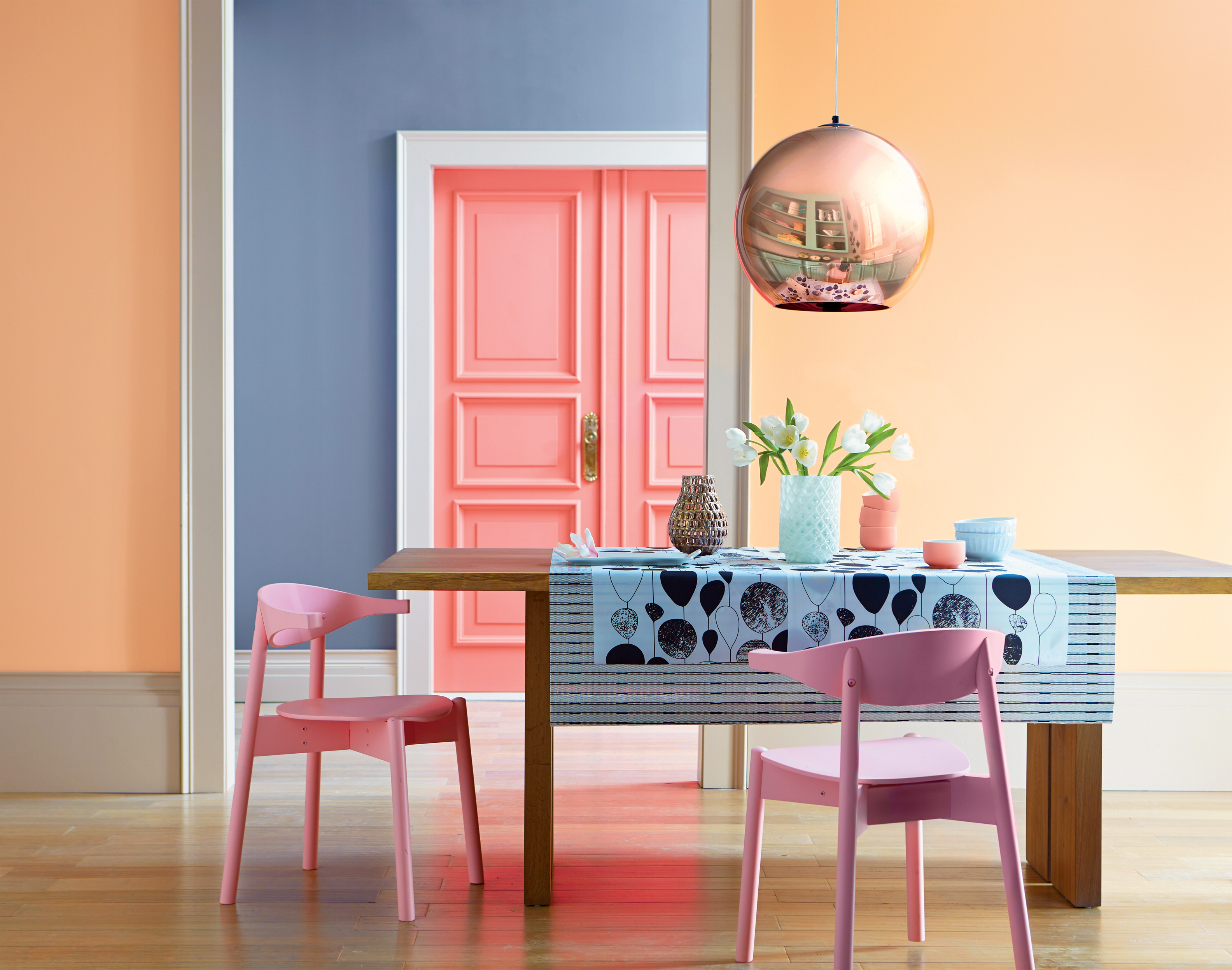Valspar has a range of delicious ice-cream shades, such as (front walls) Clementine Cream, (back walls) Blueberry Mash (both Valspar Premium Blend v700 Walls & Ceilings, £28 for 2.5L) and (door) Peach Syrup (Valspar Premium Blend v700 Wood & Metal, £32 for 2.5L). Available from B&Q stores nationwide (Valspar/PA)