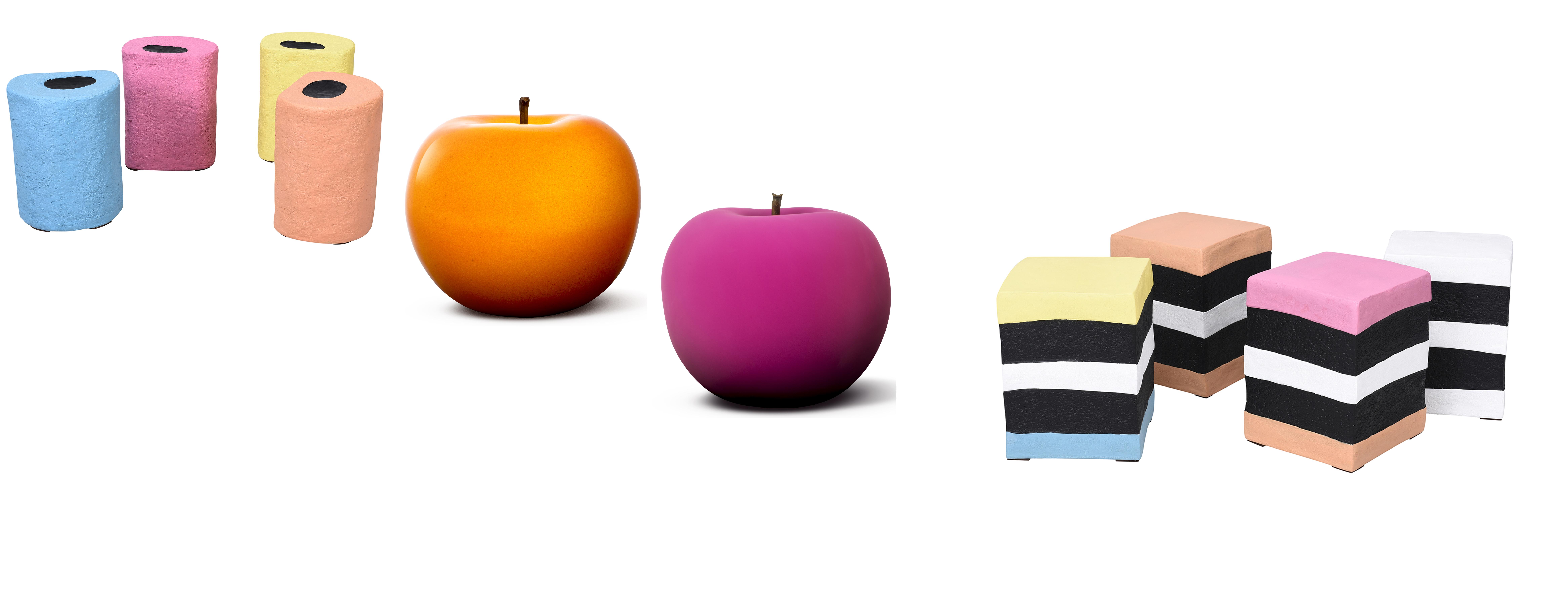 (L-R) Pick 'N' Mix Round, £195, Andrew Martin; Apple sculpture: Orange Glazed, £199; Hot Magenta Velvet Matte, £249; Pick 'N' Mix Square and Round, £195, Andrew Martin (Andrew Martin/PA)