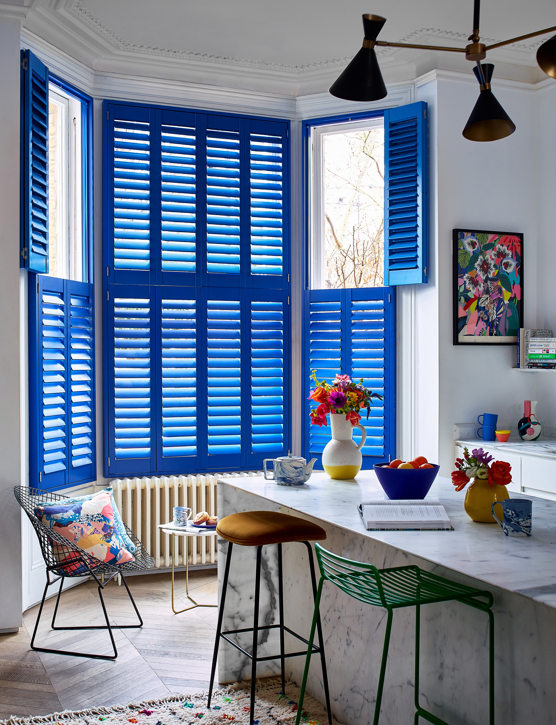 Tier-on-Tier coloured shutters in custom colour from £499 plus £75 per panel for colour, Hillarys (Hillarys/PA)