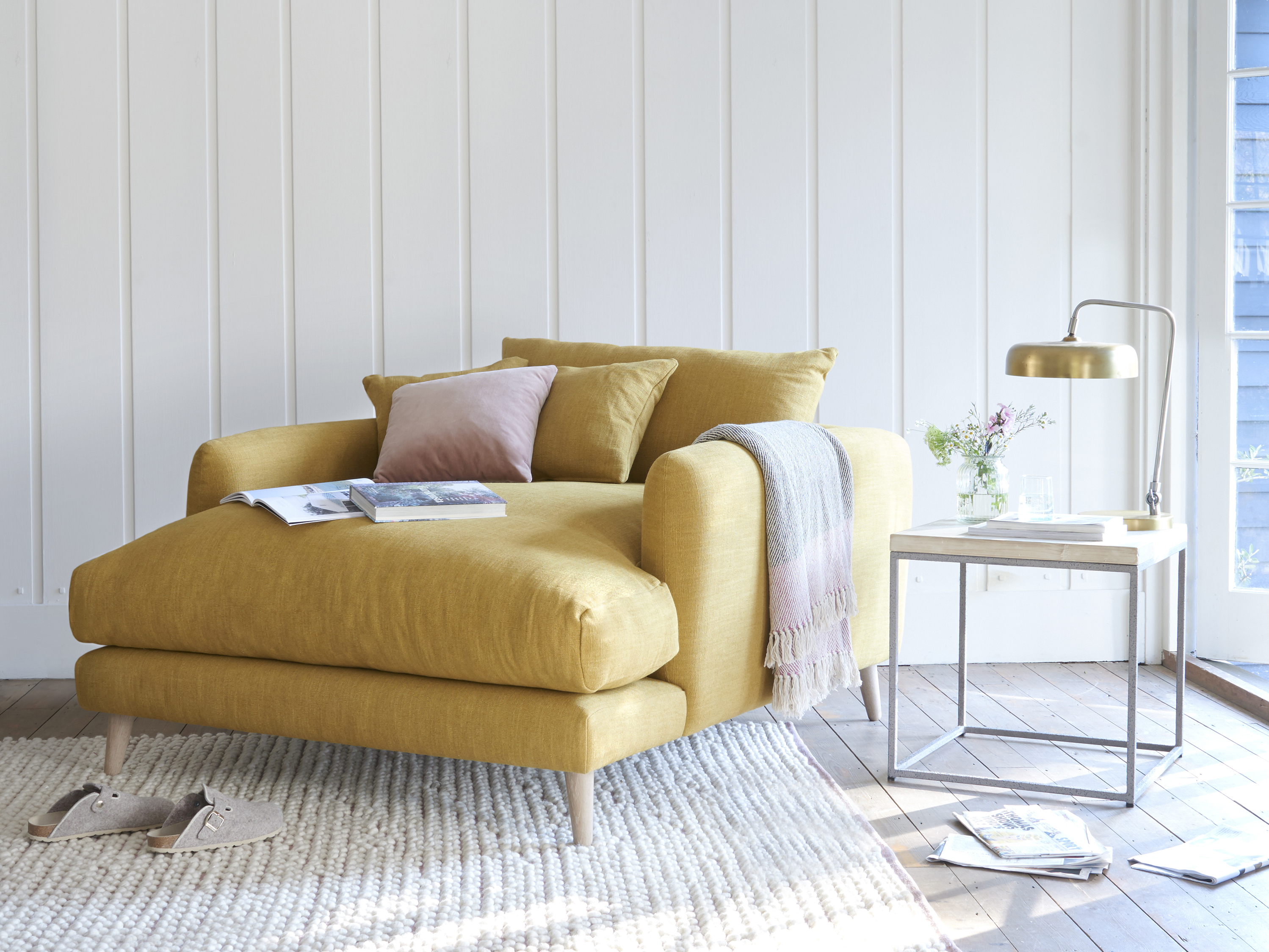 Squishmeister Love Seat Chaise, in Thatch House Fabric, Mellow Yellow, £1,145, Loaf (Loaf/PA)