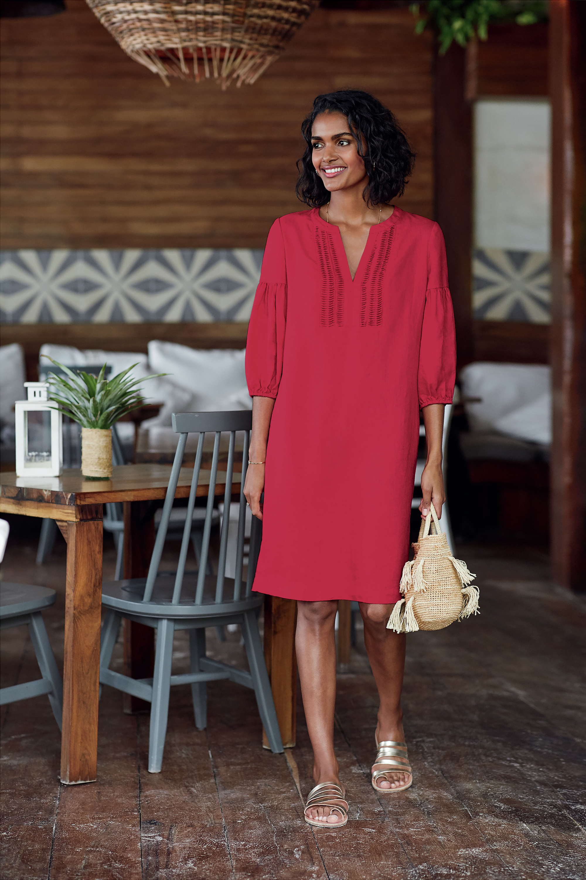 Pure Collection Laundered Linen Pintuck Beach Dress