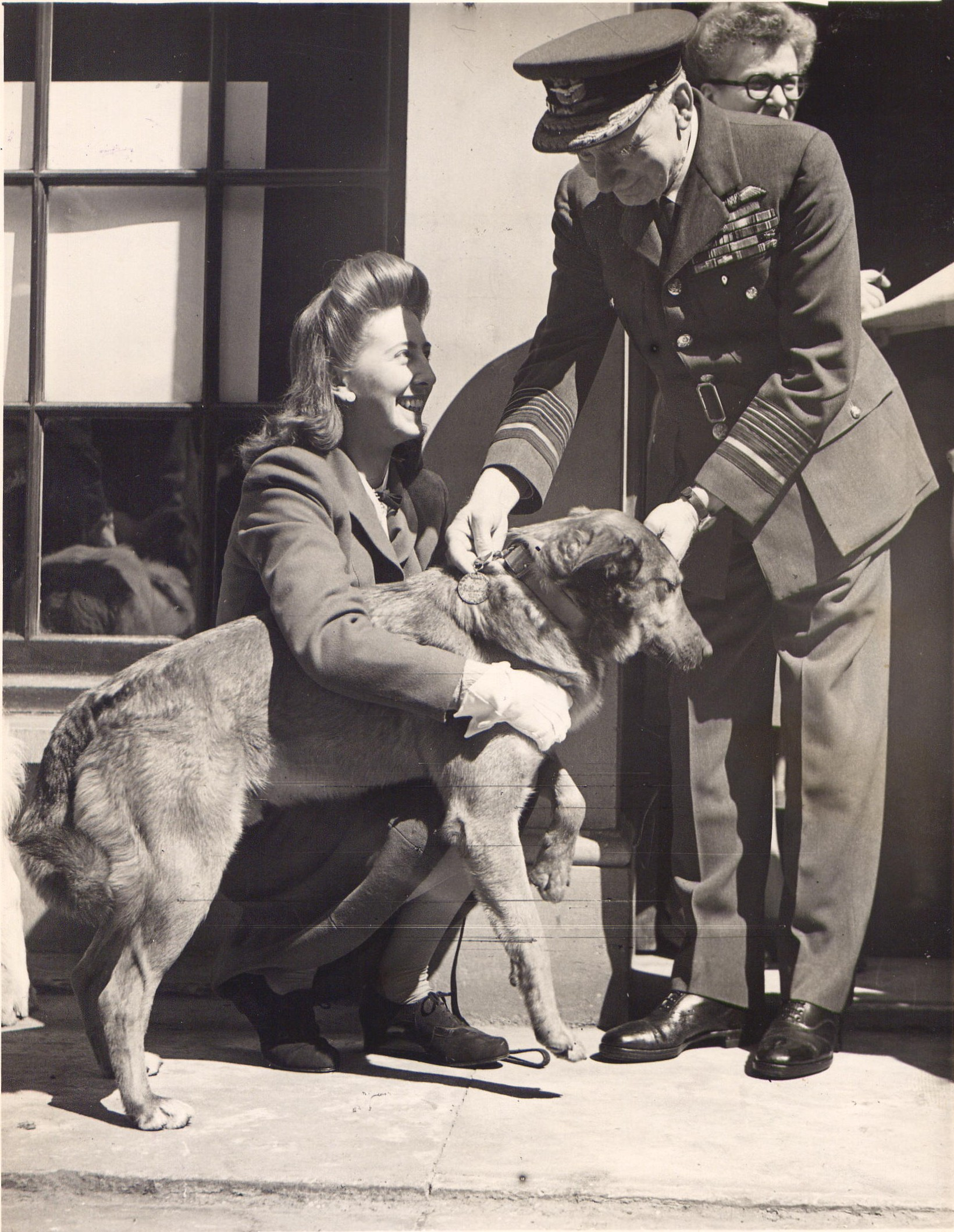 Brian, or Bing, the Alsatian, receives his Dickin Medal along with his owner Betty Fetch (PDSA/PA)