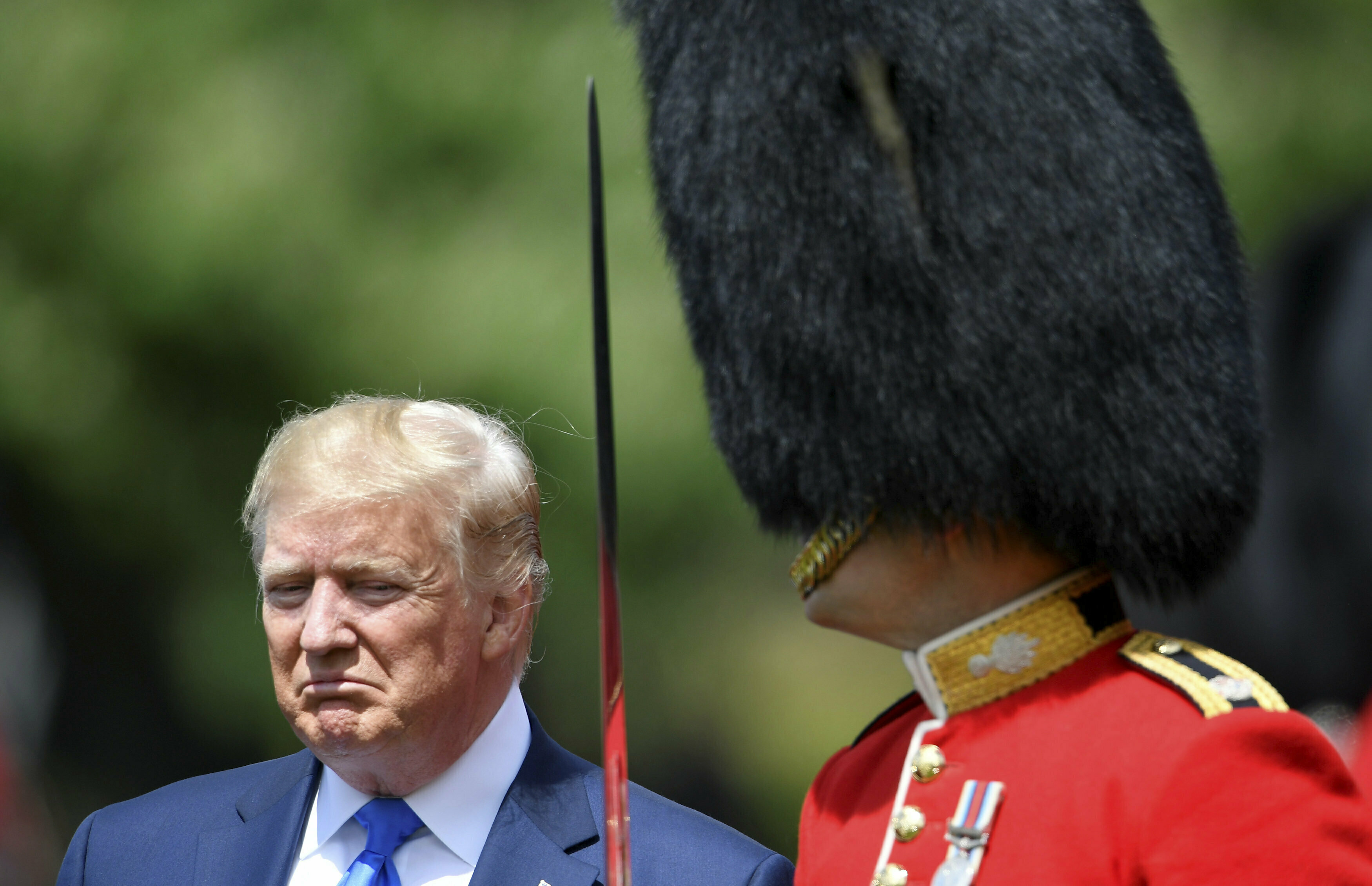 Mr Trump inspecting the guards