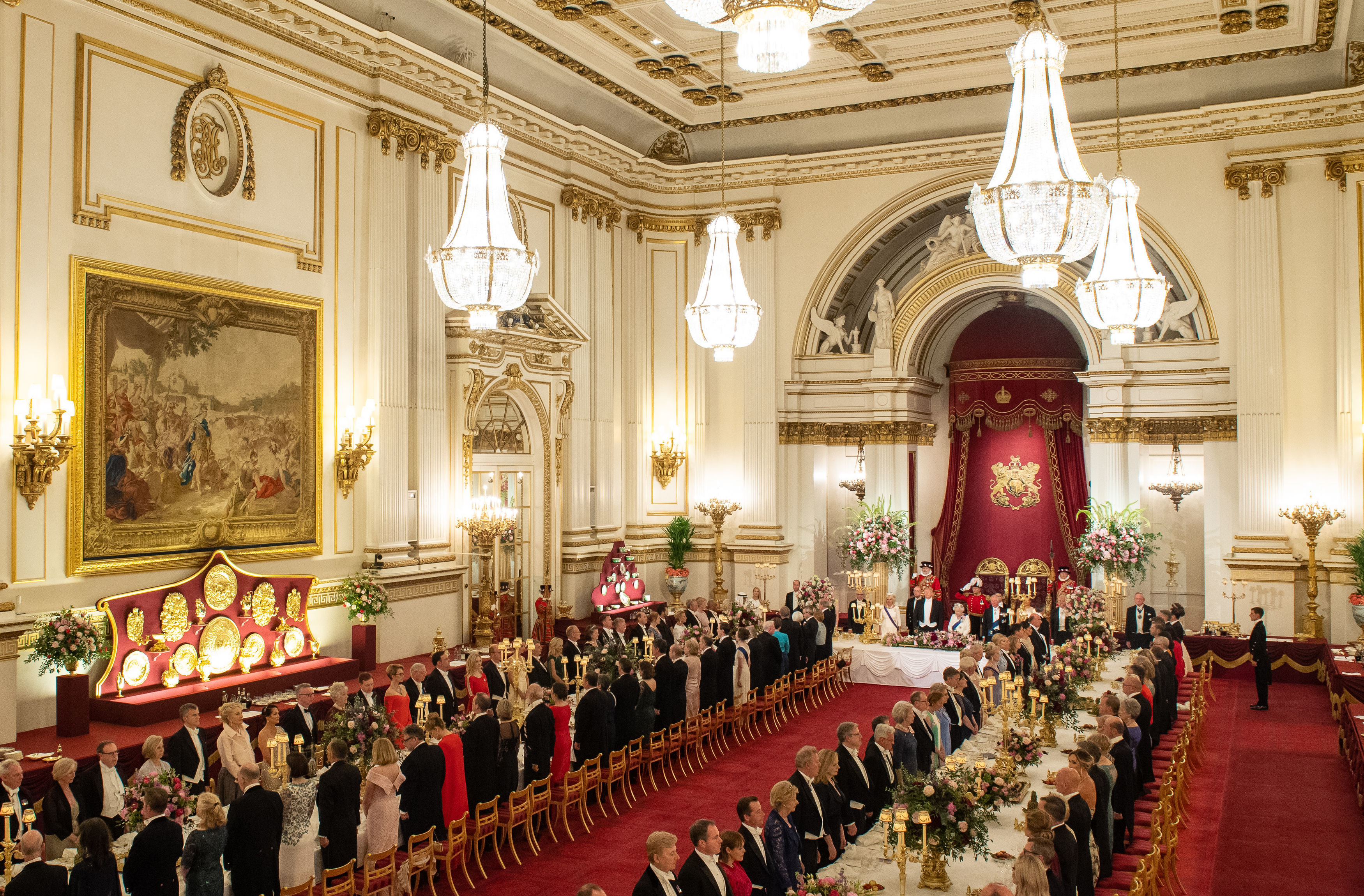 Guests during the lavish state banquet at Buckingham Palace