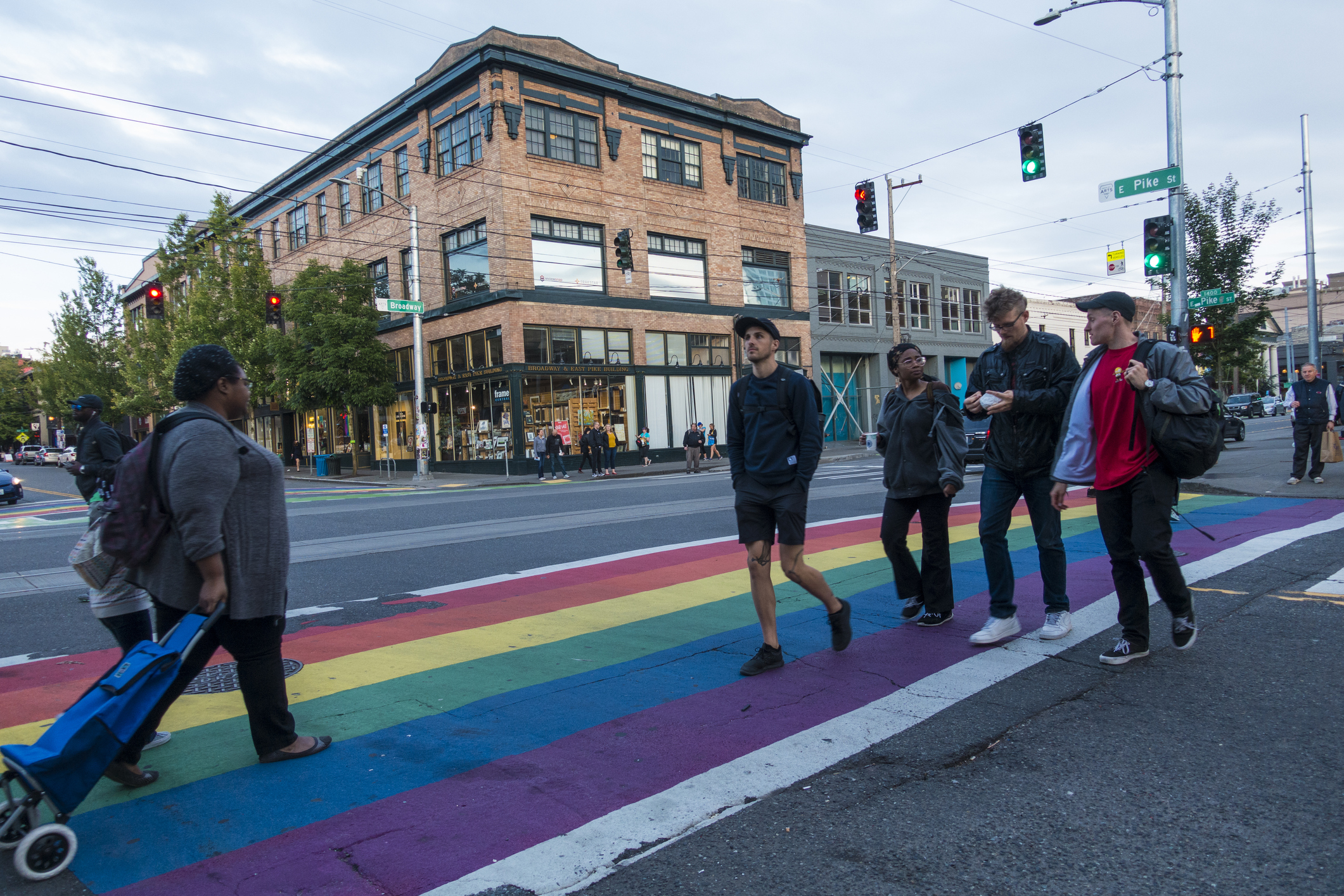 Pedestrians Cross the Street on a Rainbow Crosswalk on Capitol Hill at the Corner of East Pike St and Broadway (iStock/PA