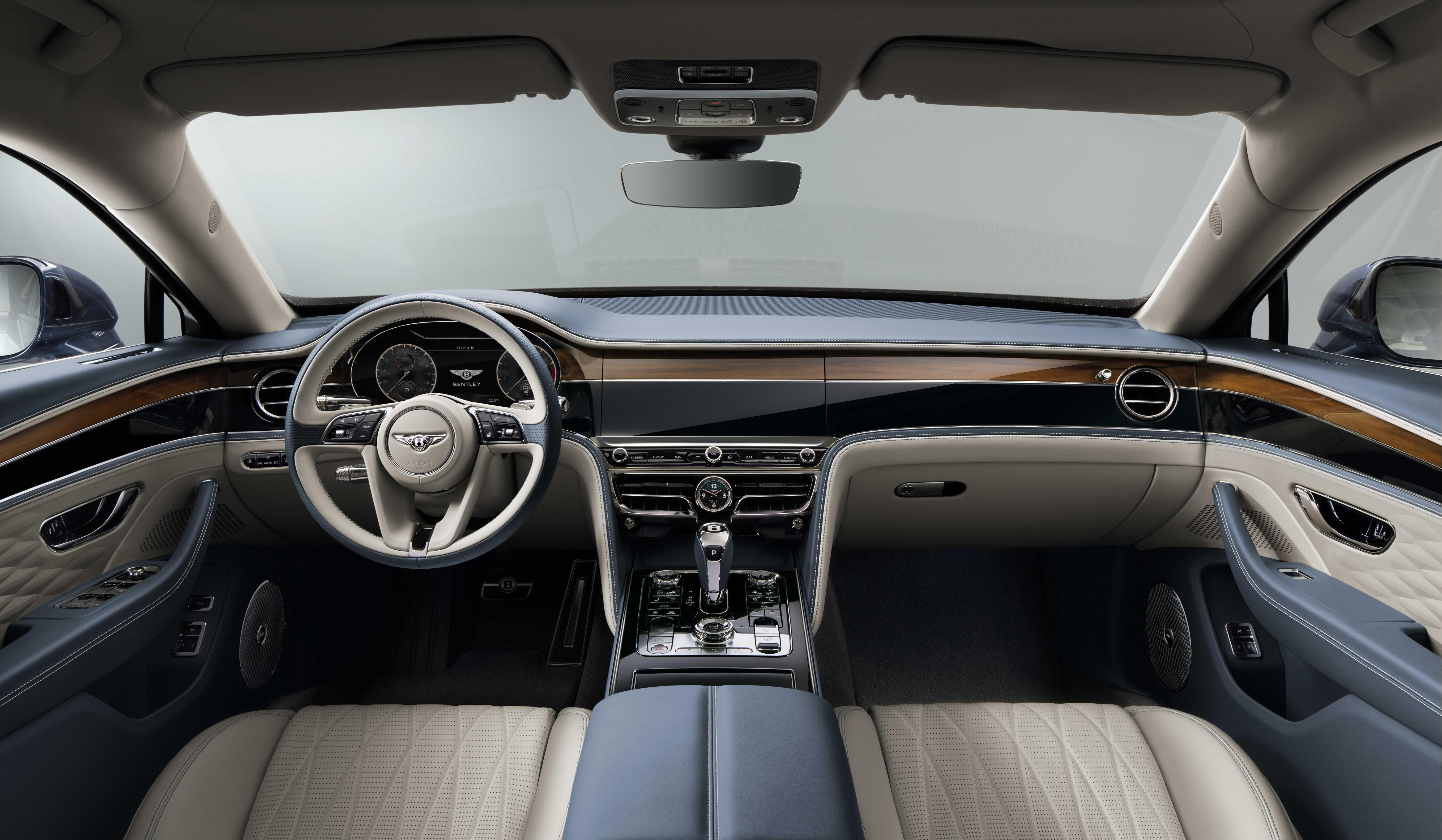 The Flying Spur's interior is available in a variety of different colours and finishes