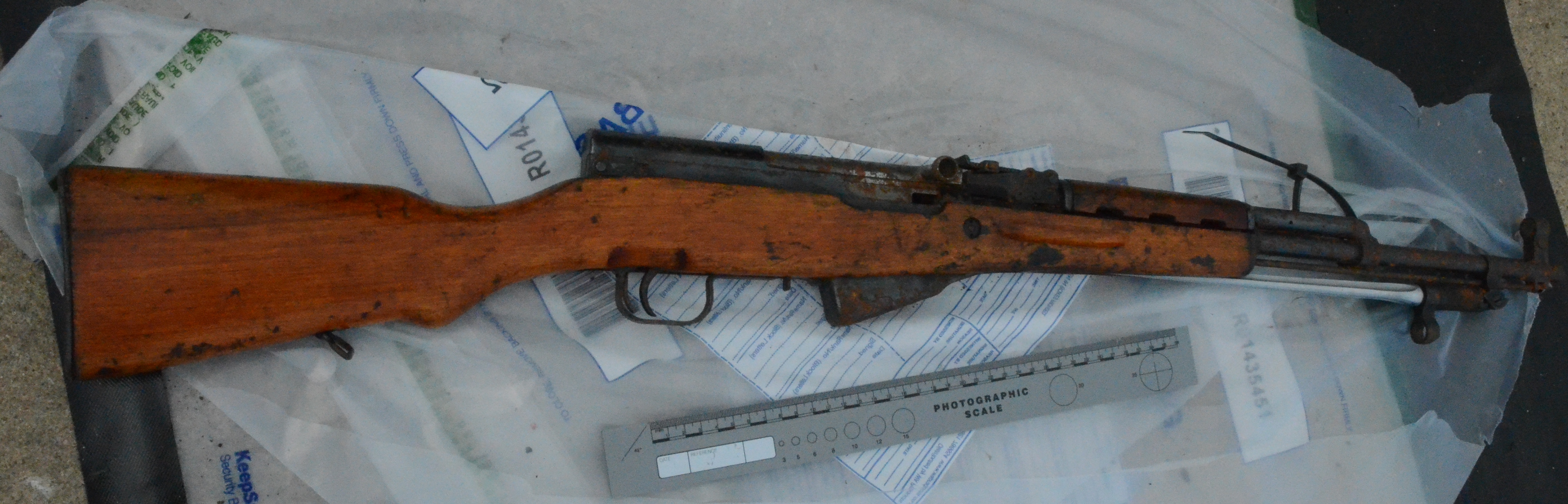 This rifle was one of three weapons seized by police (PSNI/PA)