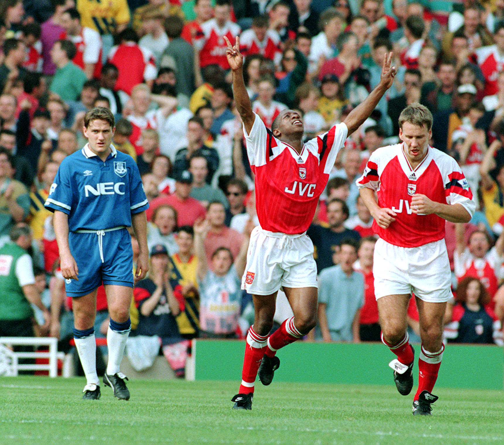 Ian Wright, of Arsenal (centre) celebrates after scoring his second goal against Everton at Highbury